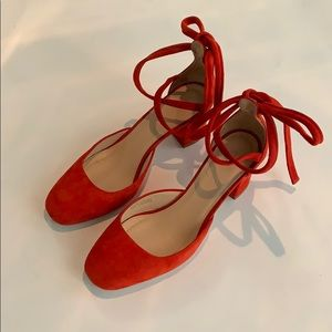 J. Crew, Sophia pumps, red flame, size 7
